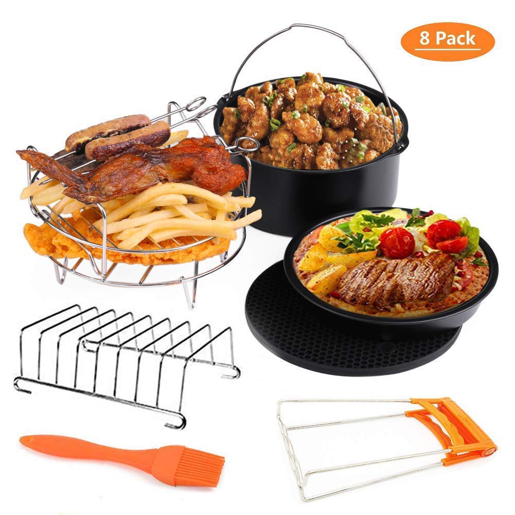Deep Fryers Universal Air Fryer Accessories Including Cake Barrel,Baking Dish Pan,Grill,Pot Pad, Pot Rack with Silicone Mat by Bellagione (8 Pcs) (XL ...