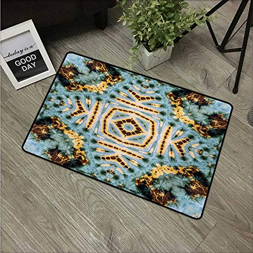 HRoomDecor Hippie,Custom Floor Mat Close Hippie Kaleidoscope Motif Maya Clan Figures Dirt Tones Counter Culture Print W 24
