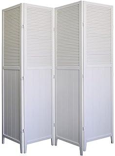 4 panel wood room divider white