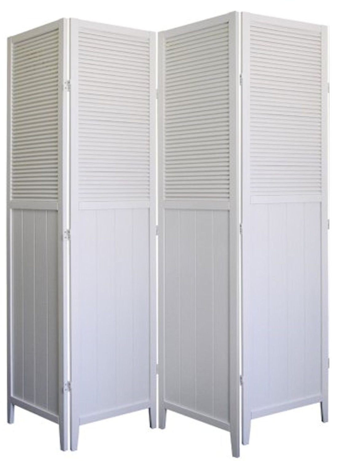4 Panel Wood Room Divider - White by SQUARE FURNITURE