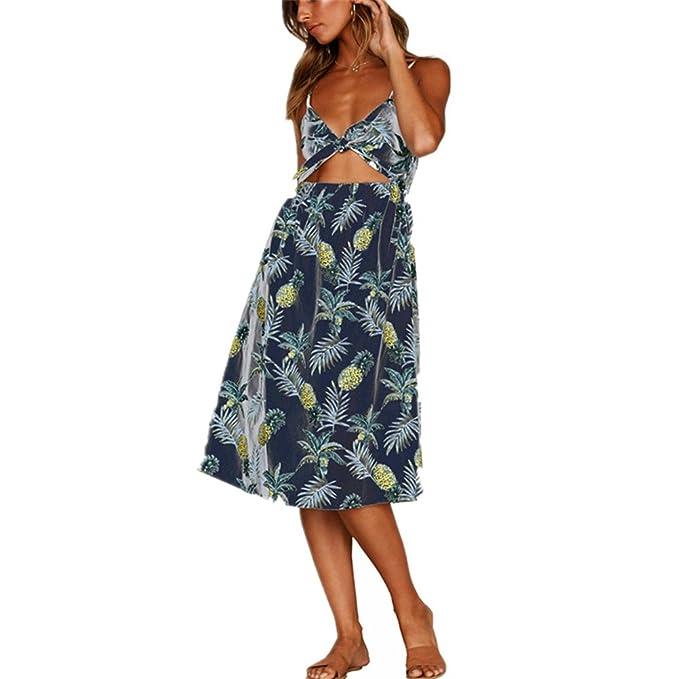 Oudan Vestido de playa para mujer con vestido plisado sin tirantes en media longitud con estampado floral en V Sexy Chic: Amazon.es: Ropa y accesorios