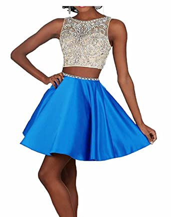 Ivy Womens Short Prom Dresses A Line Stain Homecoming Dresses Blue