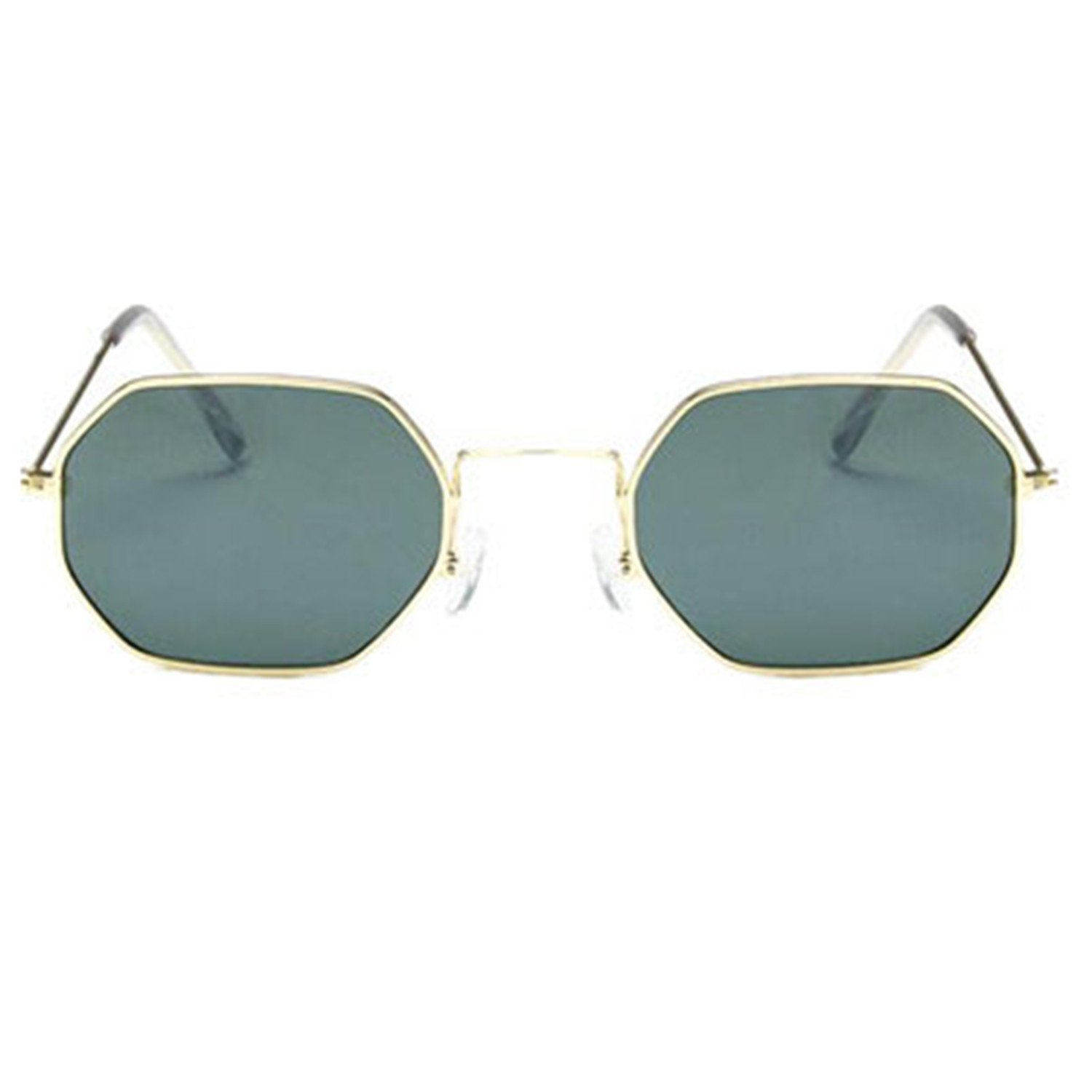 2555b75e5ae Amazon.com  nboba Fashion Sunglasses Women Small Frame Polygon Clear Lens  Sunglasses Men Sun Glasses Hexagon Metal Frame Green  Clothing