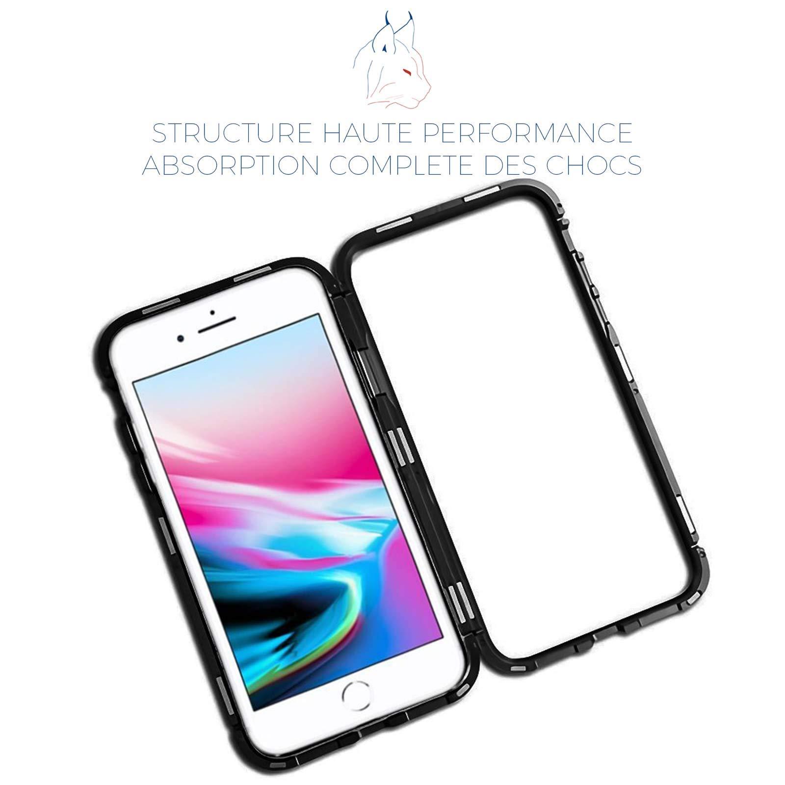 LINCIVIUS  Coque Integrale Compatible avec Apple iPhone 8, Coque de Protection 2 en 1 Aluminium et Verre Trempe Avant Et Arrière Contour Bumper Rigide pour Apple iPhone 8, Noir