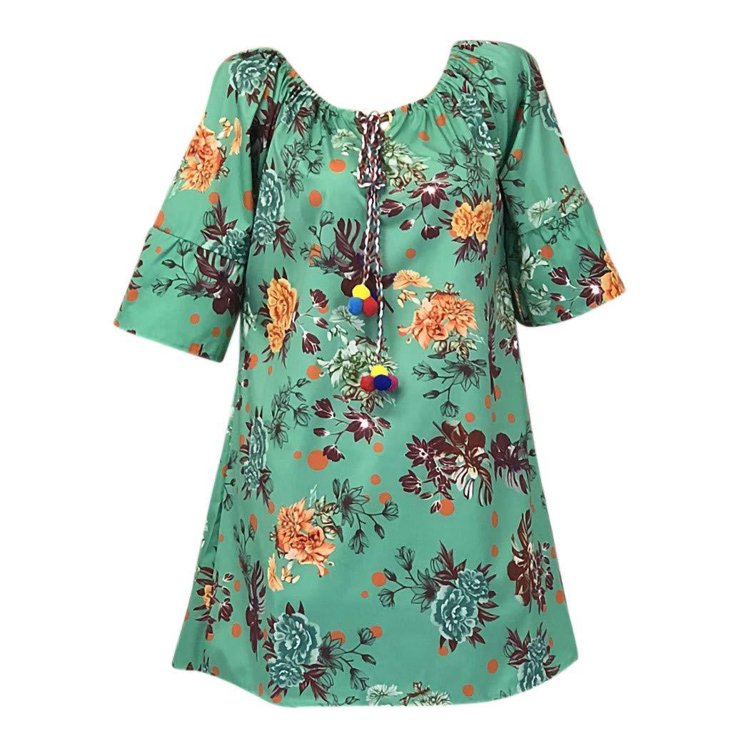PASATO S-5XL Plus Size Women's O-neck Casual Floral Print Half Tank Sleeveless Short Dress(Green,XXXXL=US:XXXL) by PASATO Dress (Image #1)