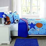 3 Piece Boys Blue Sports Star Quilt Queen Set, All Over Sport Stars Balls Bedding, Fun Multi Football Soccer Soccerball Volleyball Basketball Themed Pattern, Red Orange Navy Black White Brown