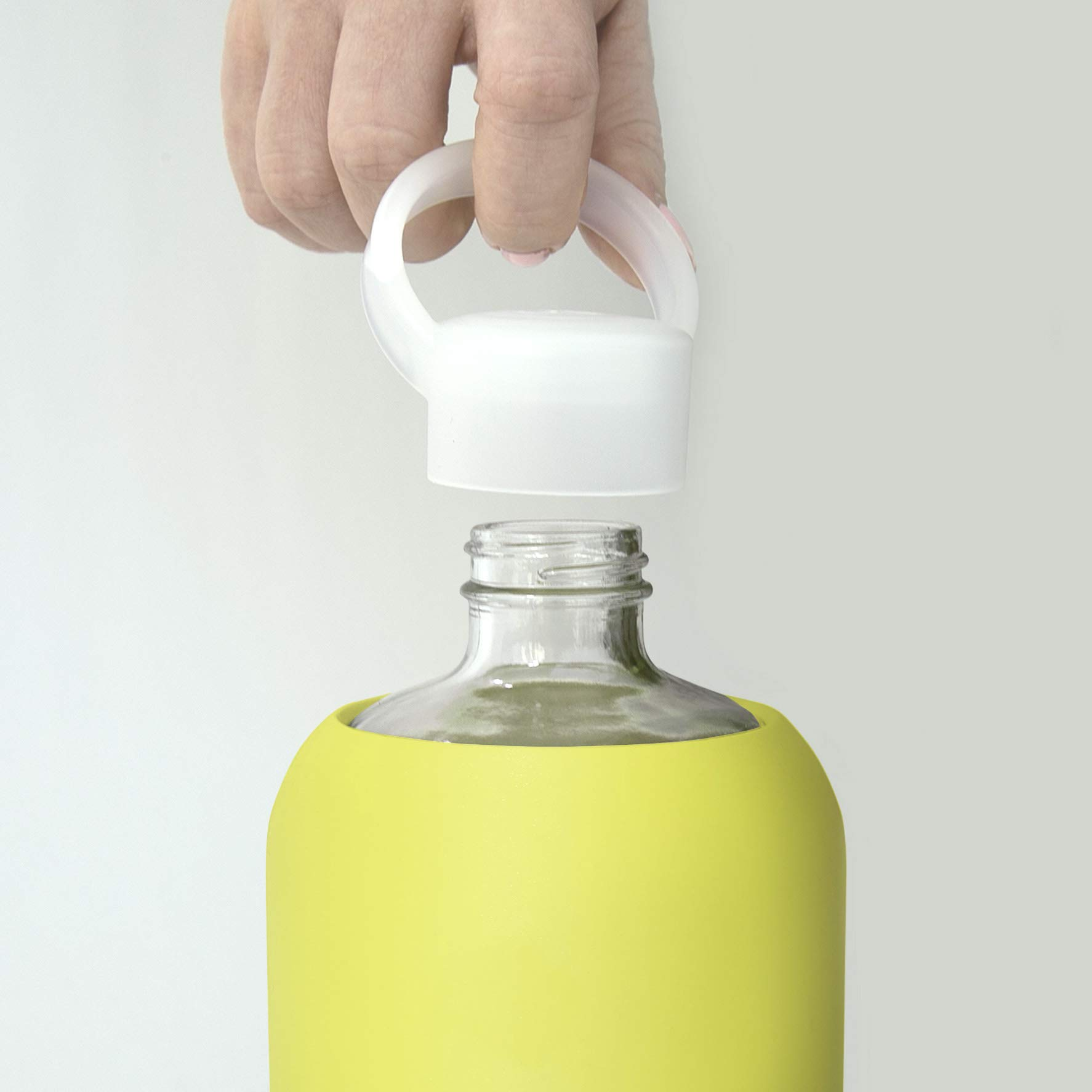 bkr Gigi Glass Water Bottle with Smooth Silicone Sleeve for Travel, Narrow Mouth, BPA-Free & Dishwasher Safe, Opaque Lime Yellow, 1 Count by bkr (Image #4)
