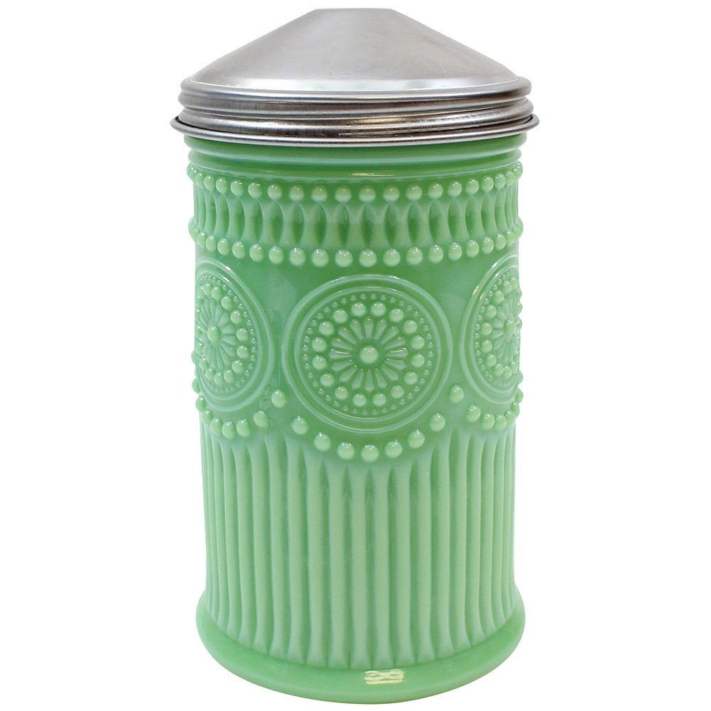 Jadeite Glass Sugar Shaker w/Screw-On Metal Cap Collectible Holds 10 Ounces