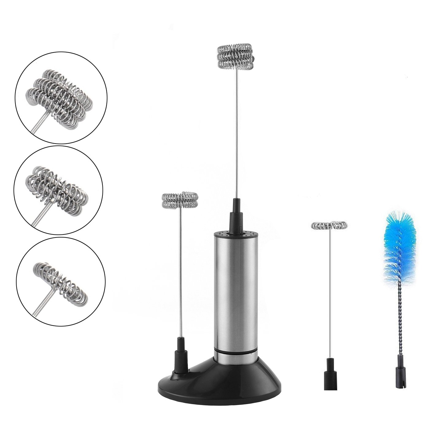 Handheld Milk Frother, Battery Operated Whisk, H-Min Electric Foam Maker with Stainless Steel Whisk Include 3 Milk Whisk Head, a Storage Stand and a Brush