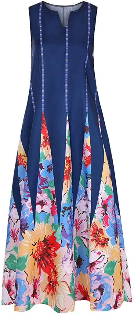 RODMA Women Vintage Daily Casual Sleeveless Striped Butterfly Printed Summer Dress