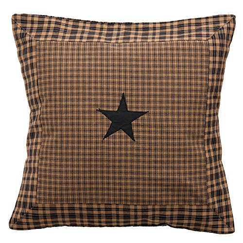 IHF New Bedding Pillow 100% Cotton Fabric 16 x 16 Inch Cushions Pillows Vintage Star Black with Tan