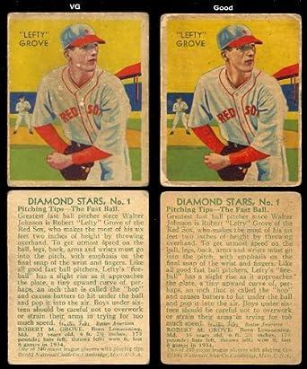 1934 Diamond Stars Regular Baseball Card 1 Lefty Grove Of The