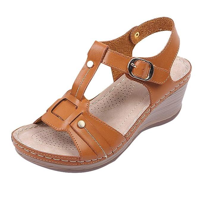 a6369f463be Zapatos Mujer Verano 2019 ZARLLE Sandalias Mujer Verano Plataforma Romanas  Sandals Peep Toe Casual Gladiador Tacón De Cuña Planas Hebilla Zapatos  Retro PU  ...