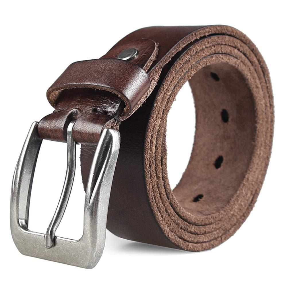 Coffee Belts for Men Full Grain Leather Belt Jeans Belt Super Soft Casual Style (125cm,Coffee)