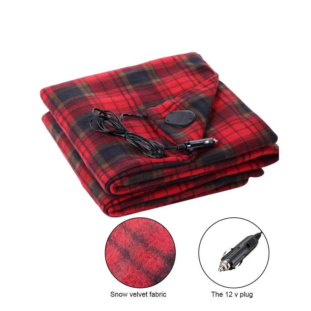 Womdee Portable Heated Car Blanket, 12v Car Electric Heating Blanket Temperature Adjustable Travel Throw, 4359 inch