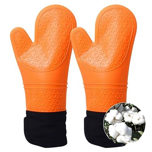 Compra Alargar doble espesar resistente al calor guantes ...