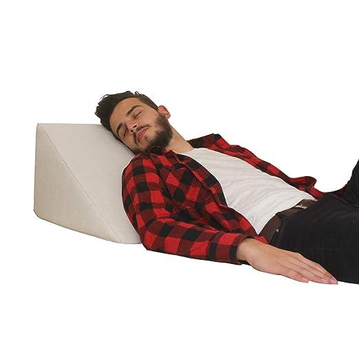 Almohada en forma de cuña, Soporte para la espalda en la cama, sala o el sofá / Almohada para leer o ver televisión Medidas: 60 x 50 cm, Altura: 30 cm ...