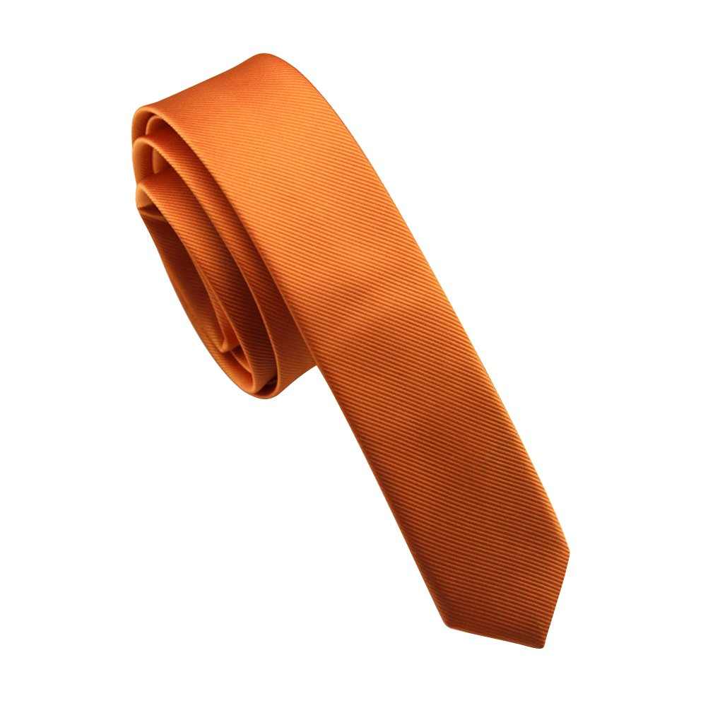 Elviros Mens Solid Color Eco-friendly Fashion Skinny Tie 1.6'' (4cm) Orange by Elviros