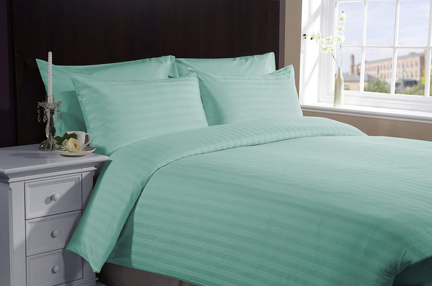 Both Pattern Solid/Stripe 1-Piece- Fitted- Sheet with 20-25 inches Extra Fit Deep Pocket Hotel Finish Adjustable Room 400 Thread Count 100% Pima Cotton (King , Stripe ,Aqua Blue).