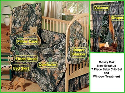 Mossy Oak New Breakup Camo 7 Piece Baby Crib & Window Treatment Set (Set Mossy Oak Crib Bedding)