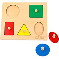 MagiDeal Wooden Montessori Geometry Blocks Sorting Peg Puzzle Jigsaw Game Toddler Developmental Toy B-Day Gift - Square