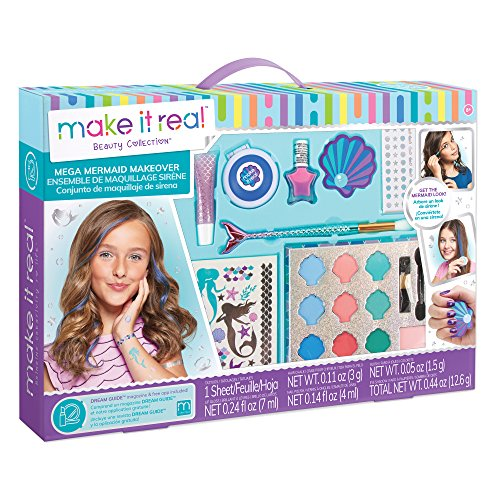 Make It Real - Mega Mermaid Makeover.  Mermaid Themed Girls Makeup Kit. Starter Cosmetic Set for Kids and Tweens. Includes Case, Mirror, Eye Shadow, Blush, Mermaid Brushes, Lip Gloss, Nail Polish