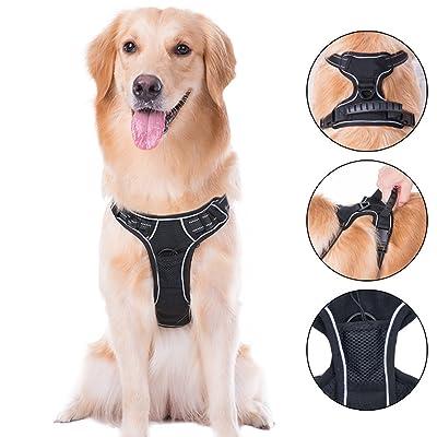 Cos2be No Pull Adjustable Reflective Pet Vest Harness -Soft Dog Leash