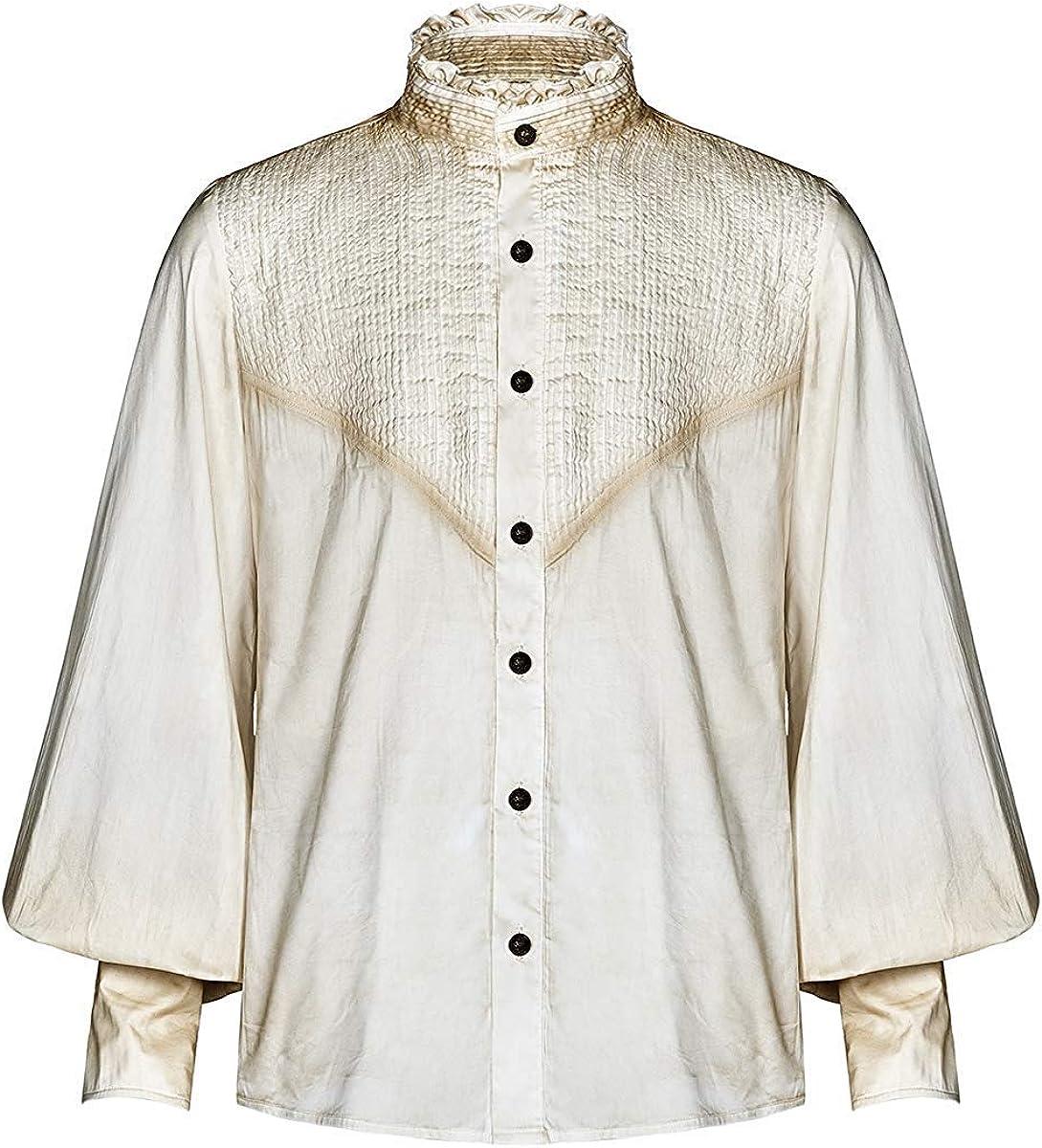 Punk Rave Hombre Steampunk Poeta Camisa Top Vintage Blanco Roto Plisado Gótico Victoriano: Amazon.es: Ropa y accesorios