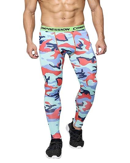 Hombres Compresión Leggings Camuflaje Polainas Pantalones Deportes Apretadas / L s2s94W