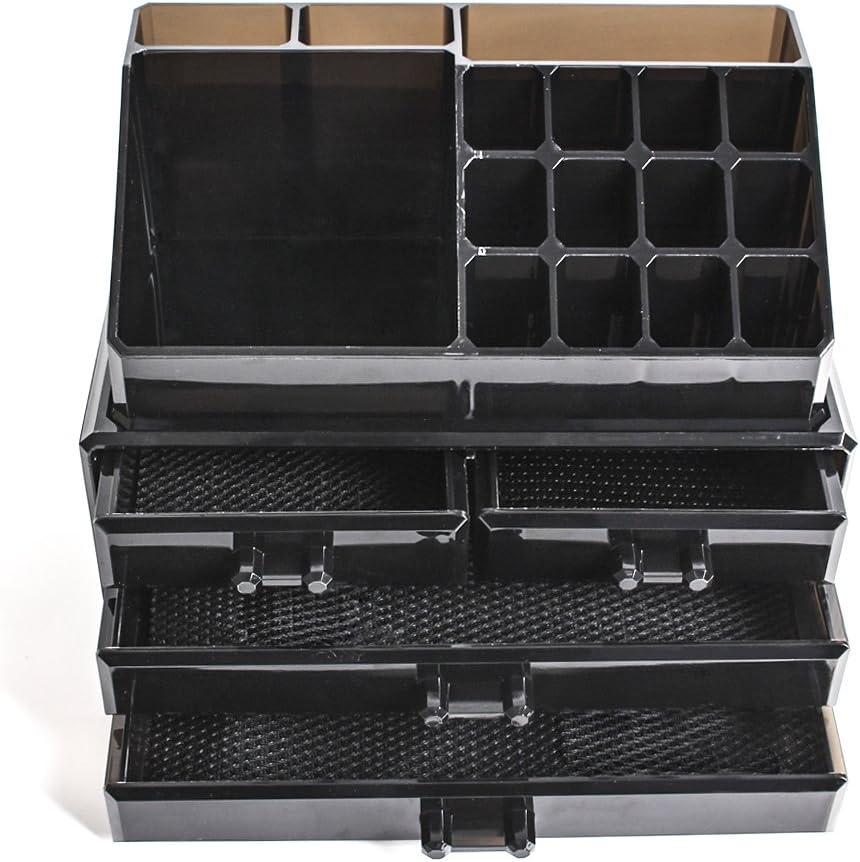 Display4top Jewellery Storage Box Acrylic Cosmetics Lipsticks Makeup Organizer Holder Box 4 Drawers Black
