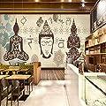 Wall Mural Vintage Thai Buddha Restaurant Bar Mural Custom 3D Wallpaper Large Wall Murals Home Decor