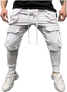 Men/'s Black White Blocked Hippie Cargo Pants Wide Leg Side Pocket Combat Trouser