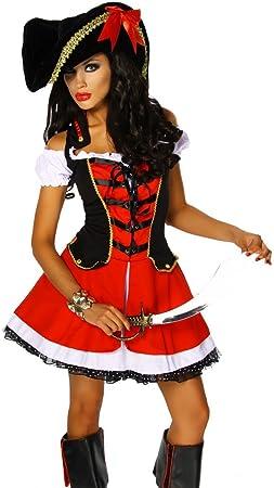 Carnaval Fiesta temática DEUBA Disfraz de pirata Rojo 2 piezas grs ...
