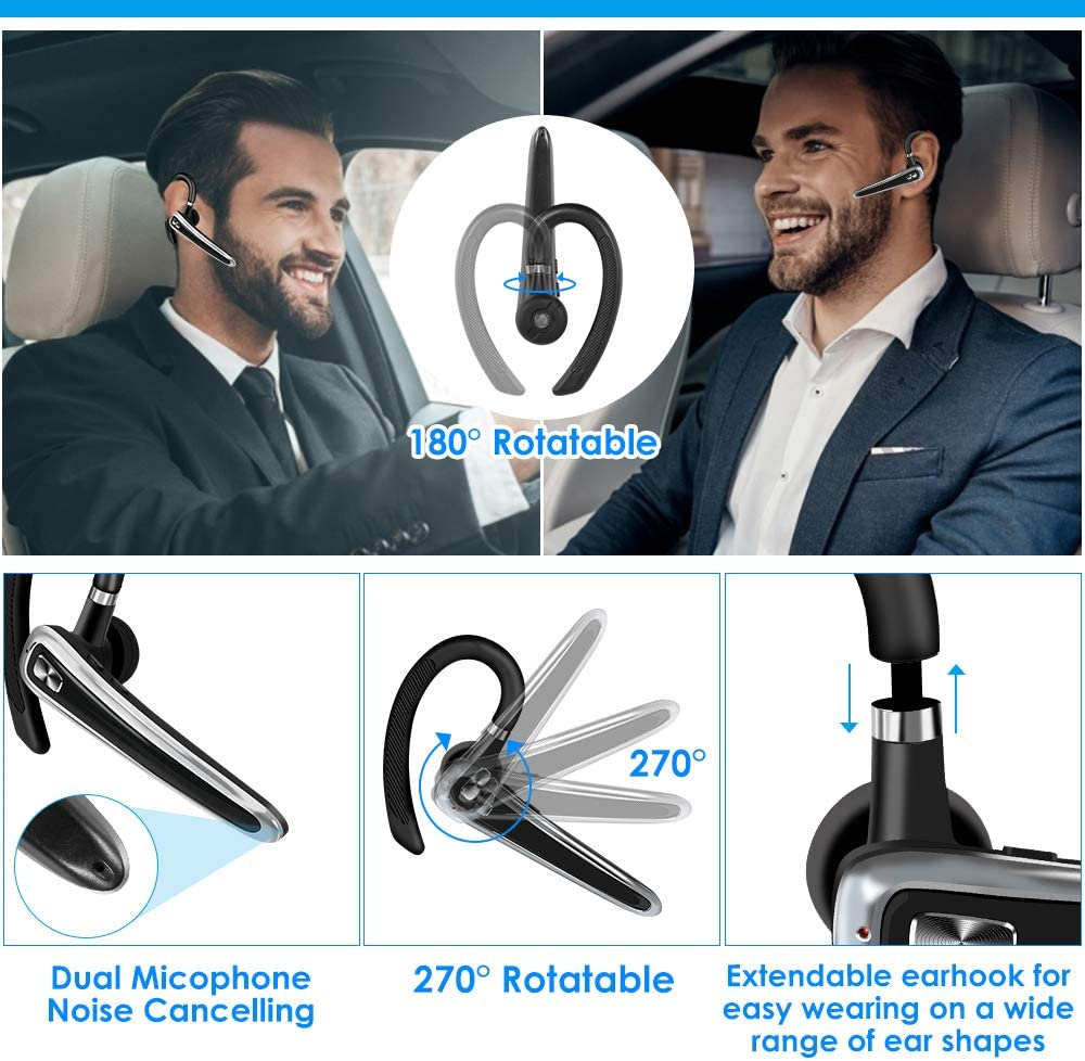 16 Hrs Talktime Wireless Bluetooth Earpiece CVC8.0 Hands-free Headphones with Microphone for IOS and Android Business//Office//Driving DOUBLE Trucker Bluetooth Headset V5.0