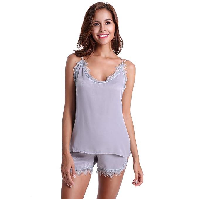 Aikuyo Pijama Conjuntos Mujer Verano, Terciopelo Fino Ropa de Dormir con Encaje, Elegante y