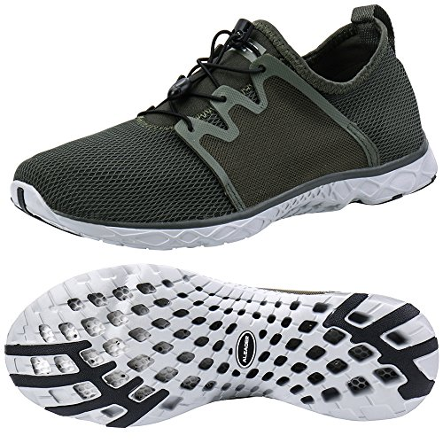 ALEADER Men's Quick-Dry Slip On Water Shoes Army Green 10 D