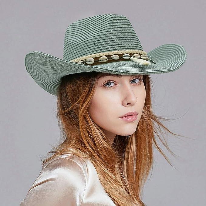 Sombrero Sombrero de vaquero de paja for mujer Dama bohemio borla Panamá Jazz Sombrilla Sombrero de verano de ala ancha Vaquera Sombrero de visera Gorras WWTLKJ ( Color : Verde , Size : 56-58 ): Amazon.com.mx: Hogar y Cocina