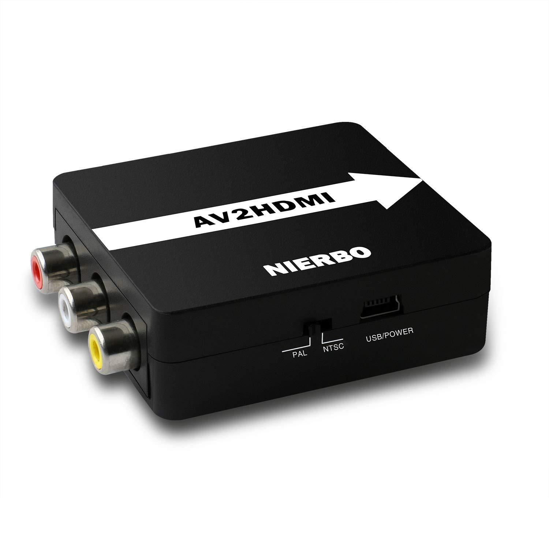Adaptador RCA a HDMI, NIERBO Convertidor de Señal Compatible con HDMI, Soporte PAL / NTSC para PS3 Xbox 360 Grabador Blu Ray SKY HD VHS DVD HDTV 720P / 1080P