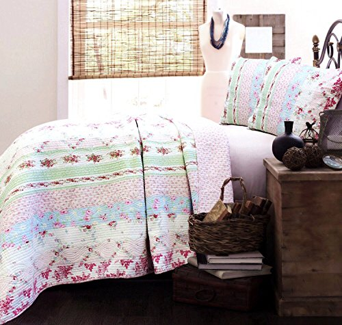 Cozy Line Home Fashions Daisy Field Bedding Quilt Set, Pink White Flower Floral Embroidered Real Patchwork 100% Cotton Reversible Coverlet Bedspread for Girl (Wild Rose, Twin - 2 Piece)