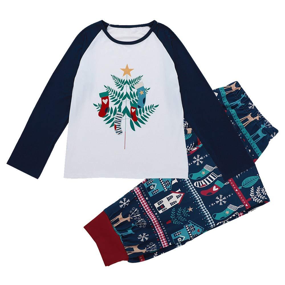 S, Navy VonVonCo Men Daddy Tops Blouse Pants Family Pajamas Sleepwear Christmas Set