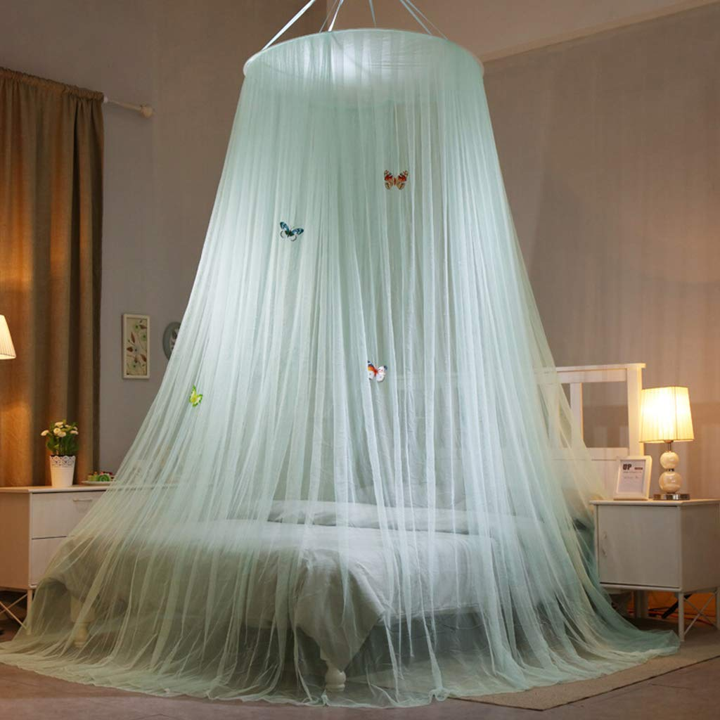 Mosquito Net, Pure Color Summer Large Dome Bed Canopy Insect Protection Full Cover Double Bed Netting Curtain for Home Travelling Use Green