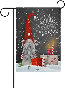 AHOMY Season Garden Flags 12 X 18 Inches Christmas Gnome Candles Snowflake Gift Boxes Double Sided Polyester Holiday Flag for Party Home Outdoor Decor