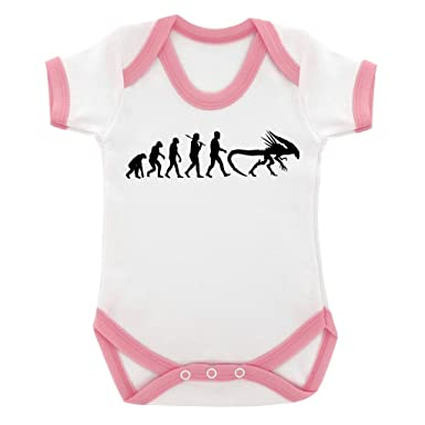 Amazon com: Evolution of a Xenomorph Baby Bodysuit with Pink Trim