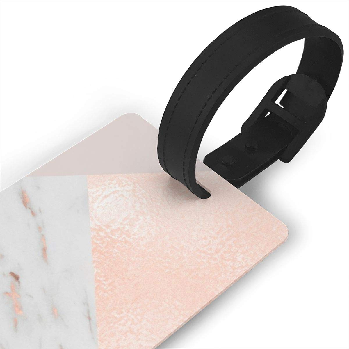 Blush Pink Layers Of Rose Gold And Marble Luggage Tags Suitcase Labels Bag Travel Accessories Set of 2