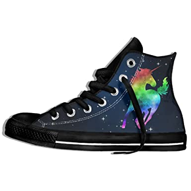 122b92724b621 Amazon.com: Rainbow Galaxy Unicorn High Top Classic Casual Canvas ...