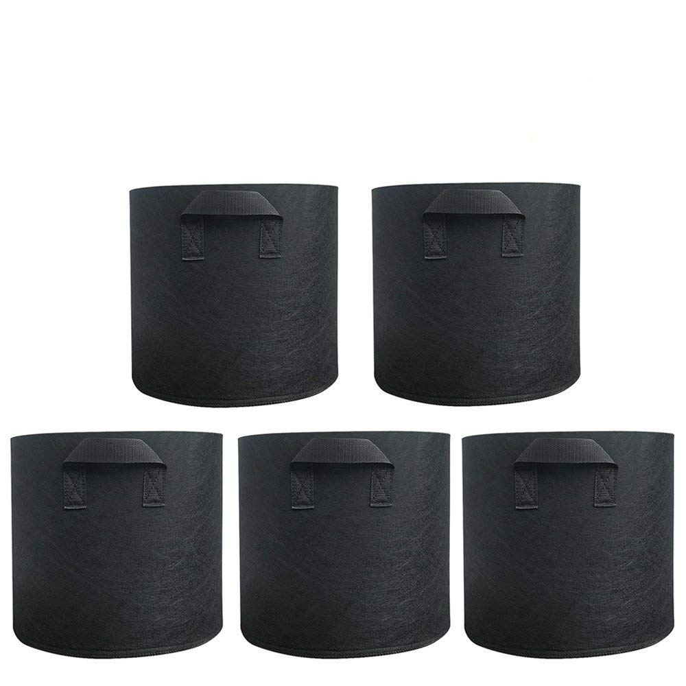 ParaCity Plant Grow Bags 5-Pack Aeration Fabrics Pots with Handle Straps, Non-woven Breathable Durable Best Root Treatment Containers for Fruits and Vegetables (3 Gallon, Black) Paramount City