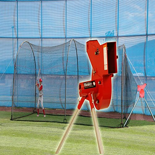 Pitching Machine Xtender 24' Cage - Heater Sports Baseball/Softball Pitching Machine & 24ft Xtender Cage