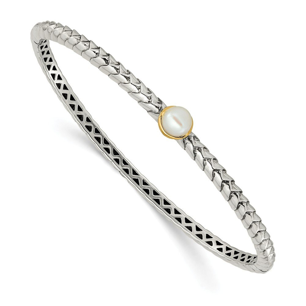 Mia Diamonds 925 Sterling Silver and 14k Yellow Gold 6mm FW Cultured Pearl Bangle Bracelet