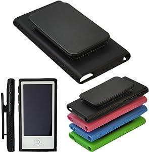 BestforYou Apple iPod Nano 7 Case, Belt Clip TPU Rubber Gel Soft Skin Case Cover for Apple iPod Nano 7th Generation 7G 7 (Black)