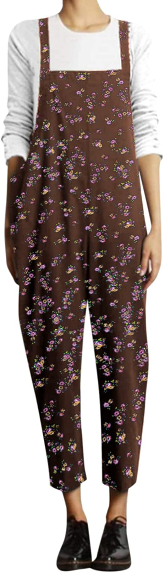 VONDA Jumpsuit Damen Elegant Overall Lang Latzhose Einteiler /Ärmellos Casual Lose Hosenanzug Romper Blumenmuster Playsuit G-Blau XL